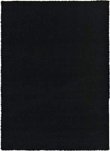 Unique Loom Solo Solid Shag Collection Modern Plush Jet Black Area Rug (7' 0 x 10' 0)
