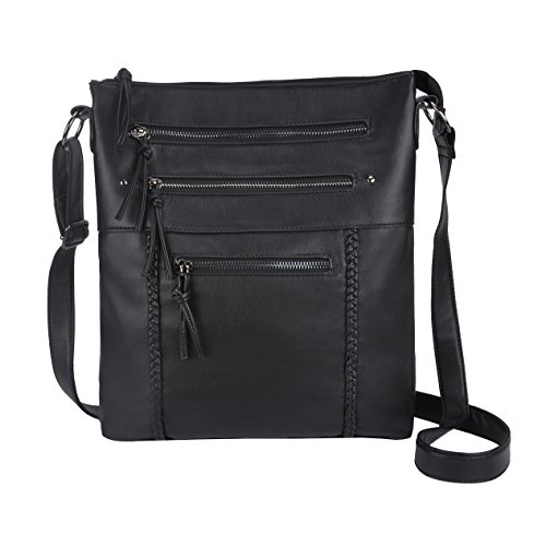 Black Crossbody Bags, Retro Style Washed Leather Multi Pockets for Work School by AnnLight