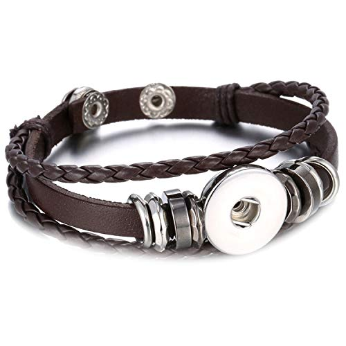 (Snap Button Bracelet Adjustable Handmade Braided Brown Black Leather Bracelet Can Be Matched with 18 Mm Button Decoration,3)