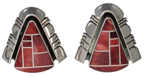 Navajo Native American Handcrafted Orange Spiny Oyster Shell Inlay Post Earrings by (Jerry Sterling Silver Earrings)