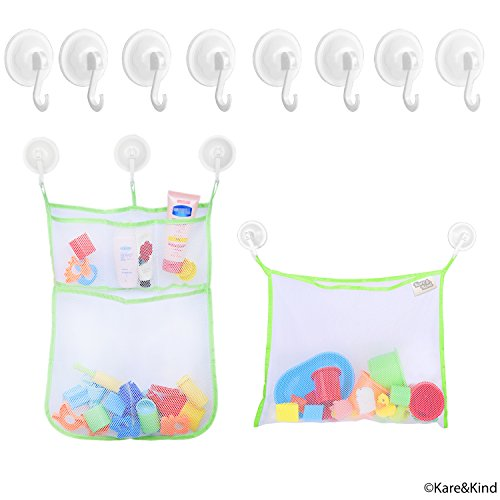 Bath Toy Organizer Set - 2x Mesh Bags (Size XL and L) - 8 Extra Strong Grip Lock Suction Cup Hooks (Green) - Easy Storage of Bath Toys and Other Bathroom Items - Mesh Bags Allow Content to Dry (Frog Pod Bath Toy)