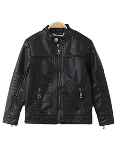 Boy's Moto Trendy Stand-Collar PU Leather Spring Moto Jacket,Black,11/12T ()