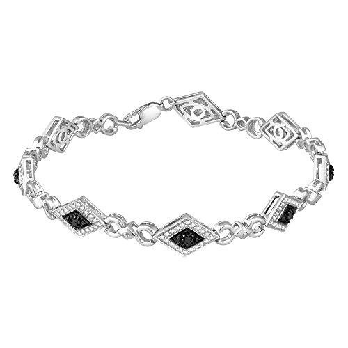 (Sterling Silver 1/4ct TDW Black Diamond Fashion Bracelet )