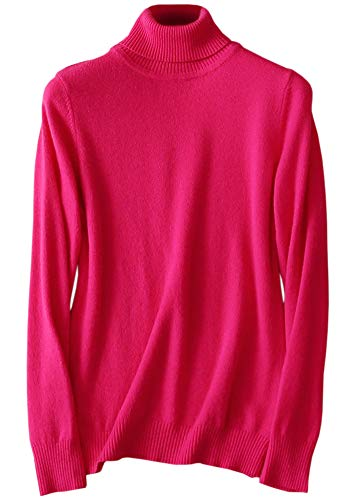 LATUD Women's Long Sleeves Cashmere Turtleneck Slim Fit Knitted Basic Fashion Pullover Jumper Sweater, Hot Pink, XX-Large=US 20-22