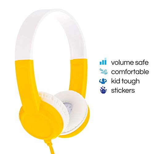 BuddyPhones Discover, Volume-Limiting Kids Headphones, Comfortable and Durable, Built-in Audio Sharing Cable, Compatible with Fire, iPad, iPhone, and Android Devices, Yellow