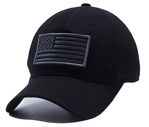 Pit Bull U.S. Flag Detachable Patch Micro Mesh Trucker Baseball Cap Hat (Black)