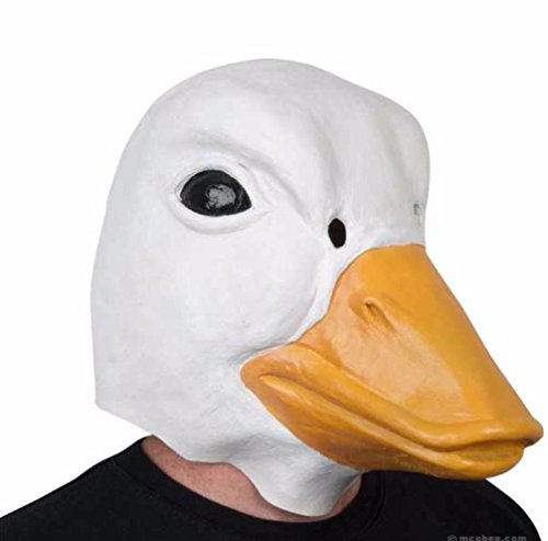 [Mememall Fashion Duck Head Full Overhead Latex Adult Animal Mask One Size Fits Most 69499 New] (Wicked Jester Deluxe Adult Mens Costumes)