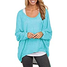 Women's Casual Oversized Long Batwing Sleeve Baggy Shirt Pullover Blouse Tops