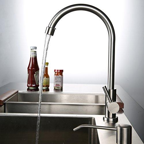50% de réduction!!!Kinse® Robinet de cuisine en acier inoxydable SUS304 moderne à eau froide Aspect brossé Rotatif à 360 ° Avec fontaine à eau ABS Peut économiser 30% d'eau