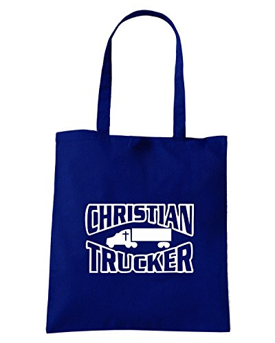 T-Shirtshock - Bolsa para la compra FUN1005 christian trucker die cut vinyl decal sticker 18084 Azul Marino