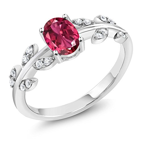 Olive Rose Collection - 0.91 Ct Oval Pink Tourmaline 925 Sterling Silver Olive Vine Ring (Available in size 9)