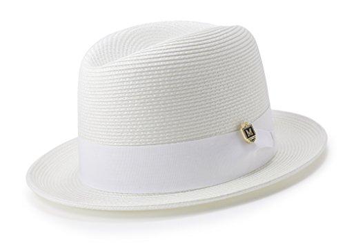 Center Fedora Crease Hat - MONTIQUE Braided Straw Flat Brim Center Crease Fedora Hat Matching Grosgrain Band H-57 (Medium, White)
