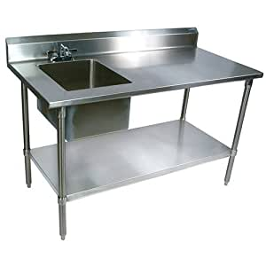 Amazon Com Stainless Steel Prep Table With Sink 72 Quot Wx30