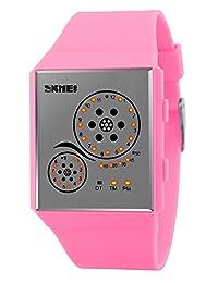 Mastop Unisex Watches Digital Sport Binary Led Watch Band 50M Waterproof Wristwatch (Pink)