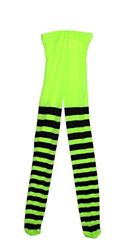 Paper Magic Girls' Footed Striped Tights, Neon Green and Black, One Size -