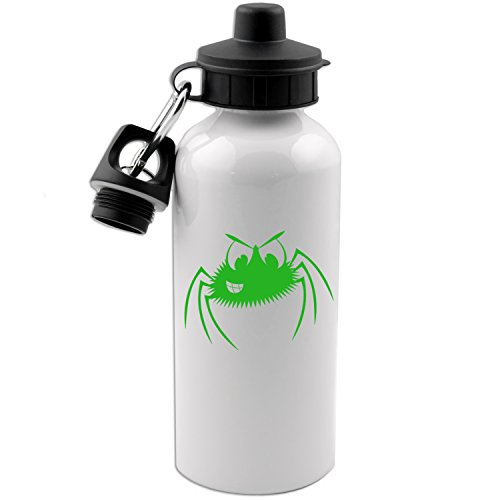 - Smiling Spider Cartoon Funny Halloween 20 OZ White Aluminum Water Bottle (LIME GREEN)
