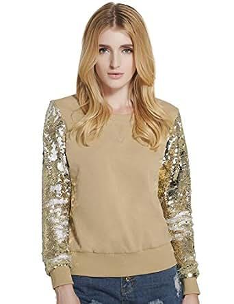 Lztlylzt Women's Stitching Sequin Sleeve Casual Pullover Hoodies Sweater Shirt(XXL,Apricot)