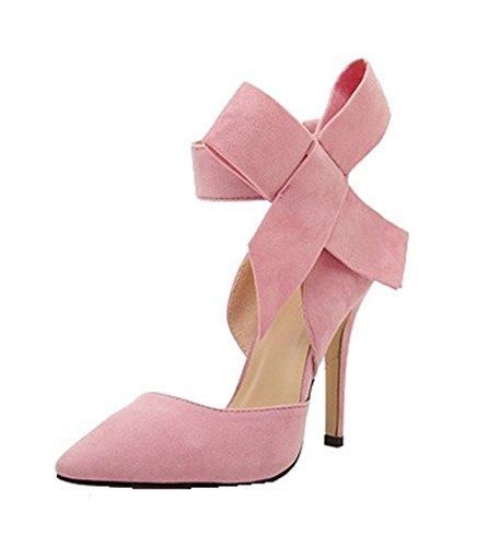 QXH de Paño Puntiagudo Bowknot Sandalias Zapatos Fino Pink Mujer de Tacón rqxwCrFBH