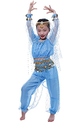 Astage Little Girl`S Belly Dance Costumes,Long Sleeve Highlights Top,Pants Sky Blue (M fits 47in-52in)