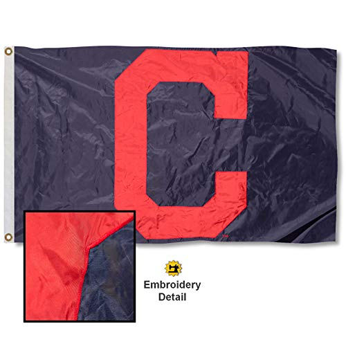 Indians Banner Cleveland (WinCraft Cleveland Indians Embroidered Nylon Flag)