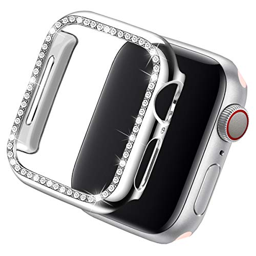 Coobes Compatible with Apple Watch Case 40mm 44mm, PC Plated Bumper Protective Cover Women Bling Diamond Crystal Rhinestone Shiny Frame Compatible iWatch Series 4 (Silver, 44mm) (Best Covers By Metal Bands)