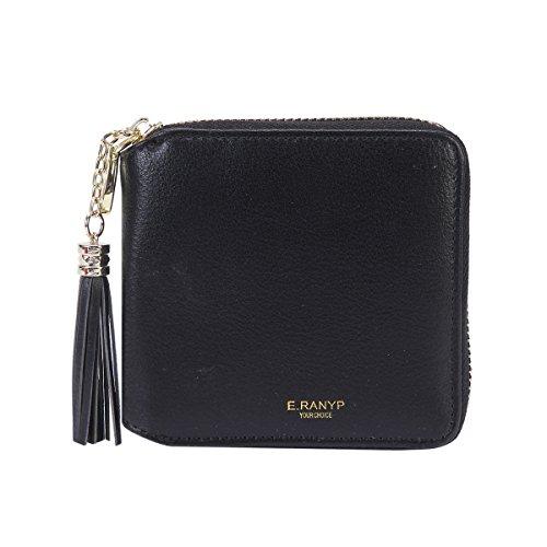 - Damara Womens Practical Tassel Zipper Mini Coin Case Wallet,Black
