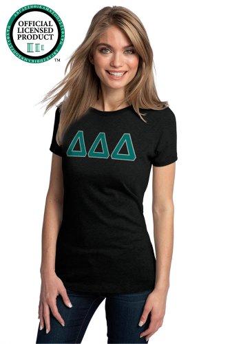 Ann Arbor T-shirt Co. Women's DELTA DELTA DELTA Fitted T-Shirt Turquoise Letters