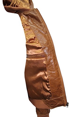 648 Bronze Glasur Herren Bomber Kapuzen SlimFit Stilvolle HipHop italienischen Lederjacke