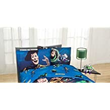 "Disney Toy Story ""Don't Toy with Us"" Excellent Bedding Set Kids Dark Blue Full Sheet Set"