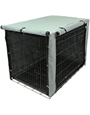 TOPEIUS Dog Crate Cover Cage Cover for 48inch Double Door Wire Crate, Durable Waterproof Pet Kennel Covers with Mesh Window