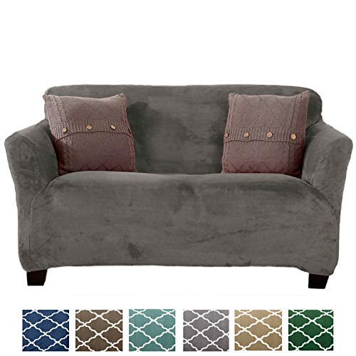 Form Fit, Slip Resistant, Stylish Furniture Shield/Protector Featuring Velvet Plush Fabric Magnolia Collection Strapless Slipcover (Loveseat, Grey - Solid)