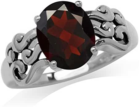 2.81ct. Natural Garnet 925 Sterling Silver Filigree Victorian Style Ring