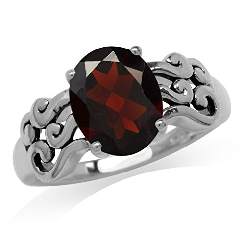 2.81ct. Natural Garnet 925 Sterling Silver Filigree Victorian Style Ring Size ()