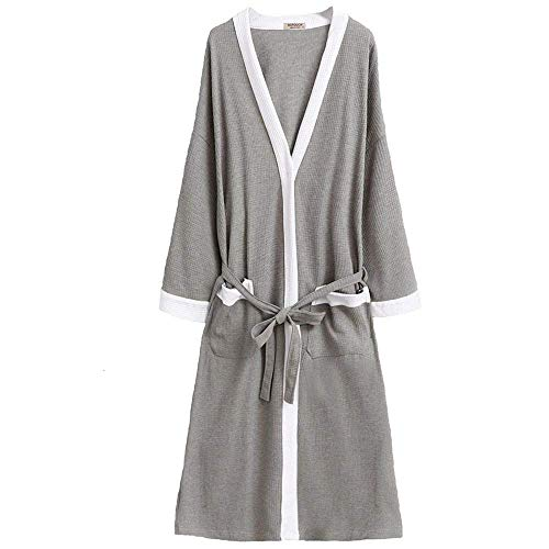 91f21f5fc3 Kimono Robe Men Plus Size Lightweight Cotton Waffle Jersey Spa Robe Plush  Bathrobe Loungewear Nightgown Sleepwear