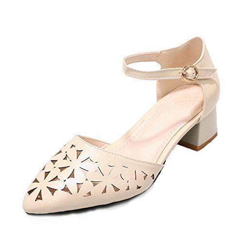 AmoonyFashion Women's Low-Heels Buckle PU Solid Closed-Toe Sandals,