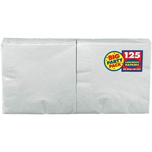 Amscan Silver Luncheon Napkins Big Party Pack, 125 Ct. (Gray Napkins)