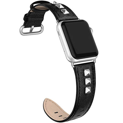 SWEES Genuine Leather Band Compatible for iWatch Apple Watch 38mm 40mm Series 4, 3, 2, 1, Sports & Edition, Bling Dressy Designer Design Glitter Rivets Studs Small Leather Bands Strap for Women, Black