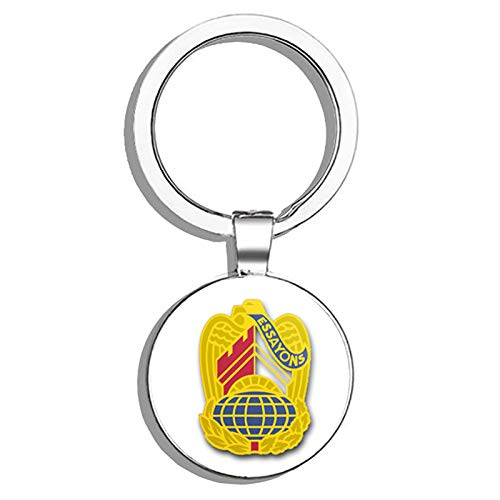 HJ Media US Army Corps of Engineers Command Unit Crest - Left - Metal Round Metal Key Chain Keychain ()