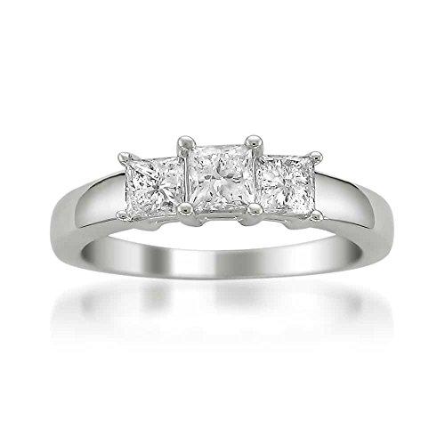 Platinum Princess-cut 3-Stone Three-Stone Diamond Engagement Anniversary Ring (1 cttw, H-I, SI1-SI2), Size 6.5