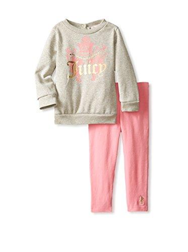 Juicy Couture Womens Glitter - Juicy Couture Girls Logo Sweatshirt & Leggings Pants Set (12 - 18 Months)