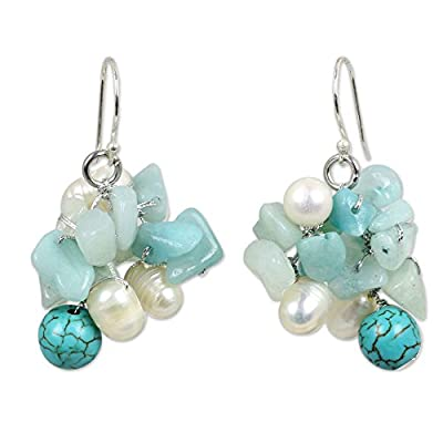 Pearl cluster earrings, 'Blue Island' - Amazonite and Turquoise Colored Dangle Earrings