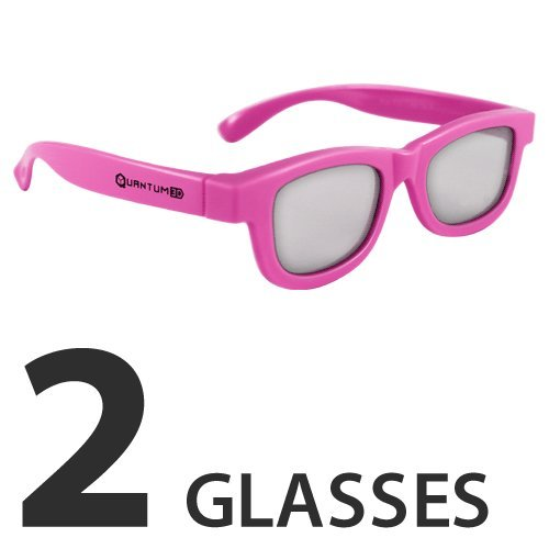 Theater No Lens Projector (Kids Pink 3D Passive Glasses for Movie Theaters, TVs & Projectors (Quantum 3D))