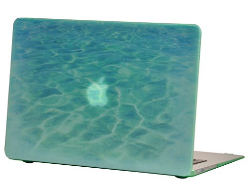 Macbook Air 13 inches Rubberized Hard Case for model A1369 & A1466, GRAFICO Sea World Design with Green Bottom Case, Come with Keyboard Cover