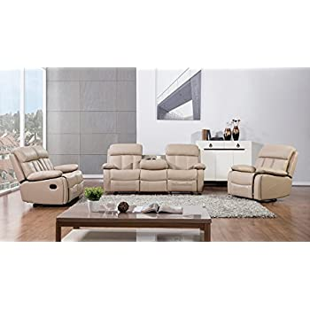 American Eagle Furniture 3 Piece Dunbar Collection Complete Bonded Leather Reclining Living Room Sofa Set, Tan