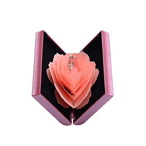 - ❤️Ywoow❤️, 3D Pop Up Rose Ring Box Wedding Engagement Jewelry Storage Holder Case Bump