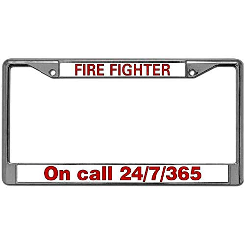 7 Plate Firefighter - License Plate Zinc Frame Fire Fighter on Call 24/7/365 Aluminum Alloy License Plate Frame Tag US Firefighter Pride Waterproof Auto License Plate Frame