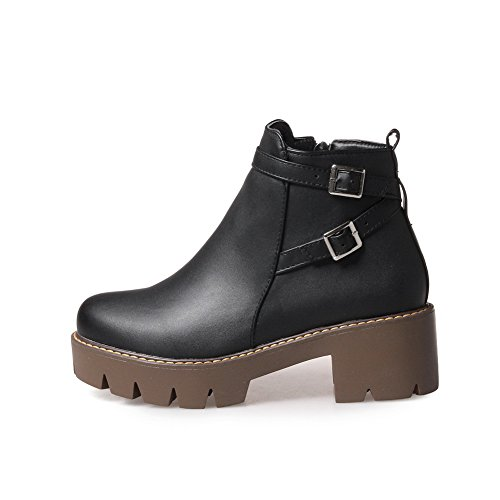BalaMasa Womens Platform Slip-Resistant Buckle Casual Leather Boots ABL10145 Black KDHXg