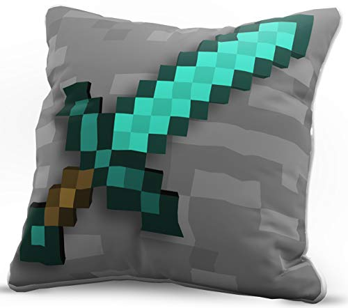 (Jay Franco Minecraft Diamond Sword Decorative Pillow Cover - Kids Super Soft 1-Pack Throw Pillow Cover - Measures 15 Inches x 15 Inches (Official Minecraft)