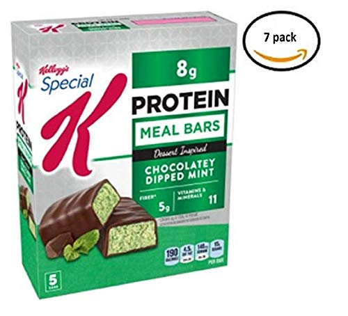 Kellogg's Special K Protein Chocolatey Dipped Mint Dessert-Inspired Meal Bar, 1.59 oz, 5 Count Each, 7 Boxes