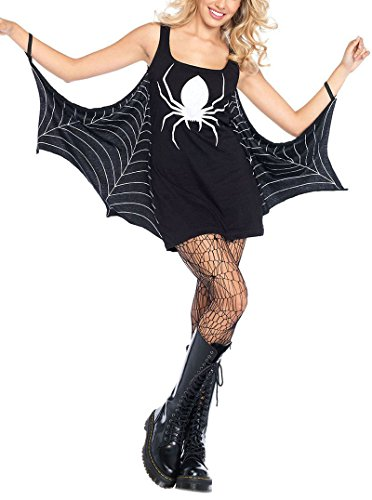 Women Adult Party Fancy Halloween Costume Black Jersey Dress Spiderweb Cosplay Costume Tunic (Adult Couple Halloween Costumes Ideas)